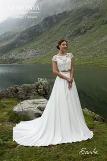 wedding photo -  Two Pieces Scoop Neck Cap Sleeve A-Line Wedding Dresses Chiffon Lace Vintage Outdoor Beach Wedding Dress Bridal Gowns Lace Luxury Illusion Online with $150.86/Piece