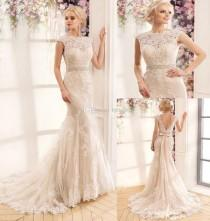 wedding photo -  New Arrival Lace Sexy Mermaid Wedding Dresses Cap Sleeve Beaded Sash Backless Bridal Gowns Tulle Appliqued Outdoor 2017 Wedding Gowns Dress Lace Luxury Illusion Onl