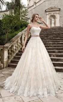 wedding photo -  Strapless A-Line Lace Wedding Dresses Tulle Applique Lace Vintage Beaded Sash Wedding Dress Bridal Gowns Lace-up Lace Luxury Illusion Online with $160.0/Piece on Hj