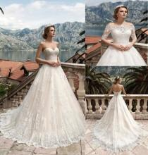 wedding photo -  Two Pieces Detachable Bodice A-Line Lace Wedding Dresses Tulle Applique Lace Vintage Sweetheart Wedding Dress Bridal Gowns Lace-up Lace Luxury Illusion Online with
