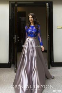 wedding photo -  2017 Robe De Soiree Courte Royal Blue Two Pieces Evening Dresses Cheap African Long Sleeves Lace Appliques Crop Top Prom Dresses Lace Luxury Illusion Online with $1