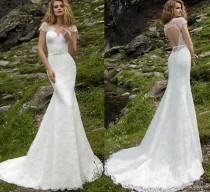 wedding photo -  New Arrival Lace Sexy Mermaid Wedding Dresses Cap Sleeve V Neck Beaded Sash Backless Bridal Gowns Appliqued Outdoor 2017 Wedding Gowns Dress Lace Luxury Illusion On