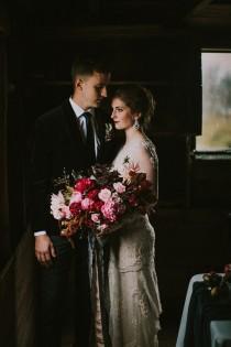 wedding photo - Moody Indoor Fall Wedding Shoot In Rich Colors - Weddingomania