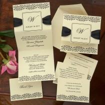 wedding photo - Damask Frame Wedding Invitation Set - Thermography Wedding Invite - Classic Wedding Invite - Traditional Wedding Invite Suite - AV4363