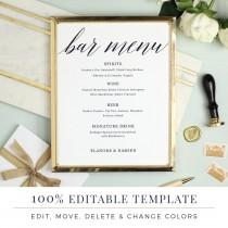 wedding photo - Wedding Bar Menu Template, Editable Bar Menu Printable, Word or Pages, Mac or PC, Modern Calligraphy, Instant DOWNLOAD
