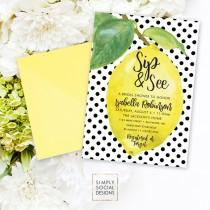 wedding photo - Lemon Bridal Shower Invitation - Fresh Lemon with Black and White Polka Dots Sip and See Printable Fresh Squeezed Lemonade Main Squeeze