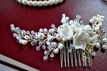 wedding photo - Wedding hair comb bridal hair comb wedding headpiece bridal headband pearl hair comb flower hair comb bridal hair piece hair accessories