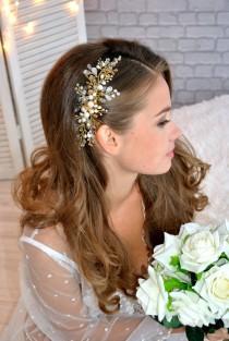 wedding photo - Bridal Hair Vine, Bridal Hair Comb, Gold Hair Vine, Wedding Hair Vine, Bridal Headpiece, Pearl Hair Piece, Wedding Headpiece, Hair Accessory