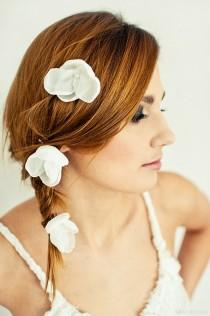 wedding photo - Unique Romantic Set of 3 Hair Pins Off White Ivory Silver Medium Size  Ready to Ship