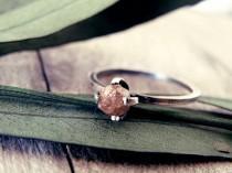 wedding photo - Raw diamond ring, red diamond ring, diamond ring, promise ring, engagement ring, raw stone, rough diamond ring, natural diamond, rings set