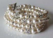 wedding photo - Bridal pearl bracelet, bridal bracelet, Wedding bracelet, Swarovski pearl and rhinestone bracelet, chunky bracelet, cuff bracelet