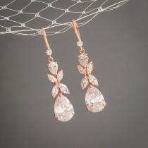 wedding photo - Rose Gold Wedding Earrings, Crystal Bridal Earrings, Clover Leaf Dangle Drop Earrings, Statement Bridal Jewelry, Teardrop Earrings, HARRIET