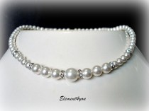 wedding photo - Bridal Pearl Necklace, Wedding Jewellery, Swarovski Pearls, Classic single strand pearl, Bridesmaid jewelry, Blue Pink Champagne Purple
