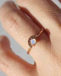 wedding photo - Raw Opal Ring, Rose Gold Promise Ring, Girlfriend Gift, Opal Rosegold Ring, Wife Gift, Rose Gold, Gifts, Moonstone, Stack  Ring