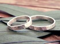 wedding photo - Wedding rings set, Wedding band set, organic wedding rings, rustic wedding ring, hammered wedding ring, wedding band, engagement ring