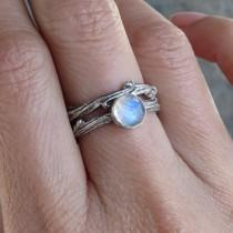 wedding photo - Sterling Silver Moonstone Twig Ring Wedding Set - Matching Antiqued Tree Branch Ring - Rose Cut Moonstone Engagement Ring in Oxidized Silver
