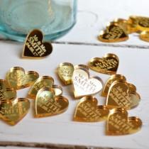 wedding photo - 50 Personalised Heart Wedding Table Centerpiece Decorations & Wedding Favours 2CM - Luxury Golden Wedding Gold Mirror - Golden Anniversary
