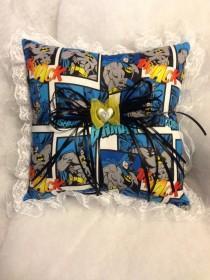 wedding photo - Custom Batman Vintage DC Wedding Ring Bearer Pillow