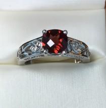 wedding photo - Diamond Wedding and Engagement Ring, Anniversary Ring, Euro Shank Engagement Ring, Cushion Shape Red Garnet Stone Ring, Bridal Diamond Ring
