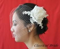 "wedding photo - Bandeau 906 -- ""PEONY"" VEIL SET w/ Flower Feather Fascinator Hair Clip & Ivory or White 9"" Birdcage Blusher Veil for bridal wedding"