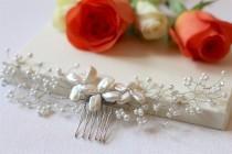 wedding photo - Bridal hair vine, pearl hair vine, bridal hair piece, wedding hair vine, pearl hair piece, hair vine, bridal vine, freshwater pearl vine