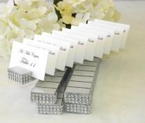 wedding photo - Place card holder -Silver Plank Place Card Holder trimmed with a crystal wrap on the front- Set of 10