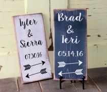 wedding photo - Darling Arrow Groom & Bride Names, Wedding Date Sign