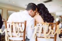 wedding photo - Wedding Chair Signs - Mr & Mrs Signs for Wedding Chairs for Bride and Groom - Hanging Signs Decor - 3 Piece Set (Item - MCK200)