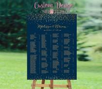 wedding photo - Wedding seating chart alphabetical, Wedding Seating Chart, Gold Polka Dots Wedding Seating Chart Poster, Navy Gold Dots Confetti