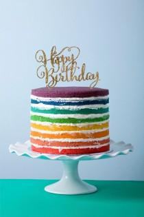 wedding photo - Birthday Cake Topper in Glitter Happy Birthday Calligraphy Style for Birthday Party (Item - CHB800)