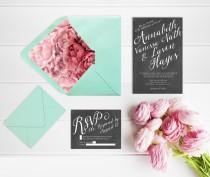 wedding photo - Wedding Invitations w/ Mint Green Envelopes & Coral Pink Peony Liner with RSVP Cards / Rustic Chic Chalkboard Weddings / PRINTED Chalkboard