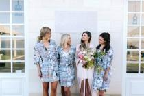 wedding photo - Bridesmaid Robes // Bridal Robe // Bride Robe // Bridal Party Robes // Bridesmaid Gift // Silky Robe // Satin Robe // Robe // Floral Robes
