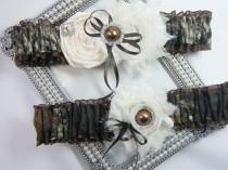 wedding photo - Mossy Oak brown CAMOUFLAGE wedding garter set Camo garters shabby rose