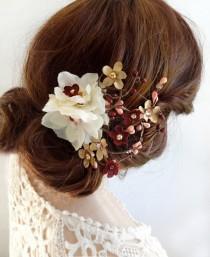 wedding photo - burgundy and gold wedding hair clip, burgundy hair flower, Swarovski crystal accents, elegant hair accessories, fall hair clips, floral