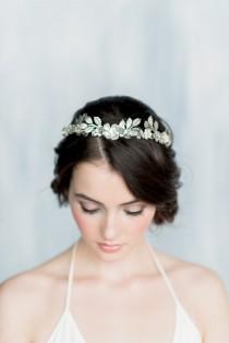 wedding photo - Silver Leaf Crown, Gold Leaf Headband, Gold Flower Crown, Leaf Headpiece, Silver Hairband, Modern Crown, Gold Leaf Crown, Leaf Tiara, HELENA