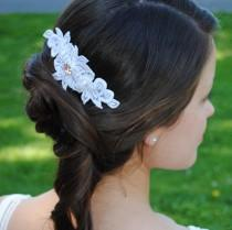 wedding photo - Arianna - Bridal lace hair comb/accessory - Limited White Vintage lace with Swarovski crystal - Perfect Bridal accessory