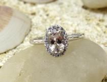 wedding photo - Delicate Gold Engagement Ring with Morganite Unique Rose Gold Diamond Alternative Promise Ring, Commitment Ring Halo Ring