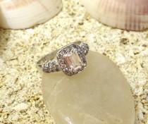 wedding photo - Halo Engagement Ring Wedding Ring Unique Engagement Ring Diamond Ring Morganite Engagement Ring Pave Diamonds Solid Gold Vintage Engagement