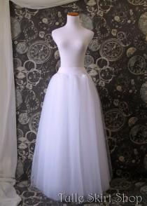 wedding photo - White Tulle Skirt - Adult full Length Tutu, Wedding Skirt, with Lycra waist, Perfect with Corsets - Crinoline or Petticoat - Made to Order