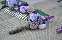 wedding photo - Wedding boutonniere, Lavander wedding, groomsmen button hole, Woodland rustic boutonniere.