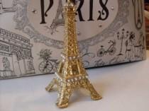 wedding photo - Gold Glitter Rhinestone Paris Eiffel Tower Cake Topper MEASURES  5 & 1/2 INCHES  We Ship Internationally