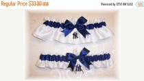 wedding photo - ON SALE New York Yankees Wedding Garter Set with charms   Handmade  Keepsake and Toss   NY Satin w-nnw