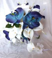 wedding photo - Blue orchid white calla lily bridal bouquet and boutonniere set