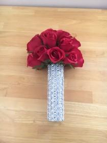 wedding photo - Red Silk Real Touch Roses Wedding Bouquet with Crystal Diamante Brooch Gems - Bridesmaid Bridal Bouquet
