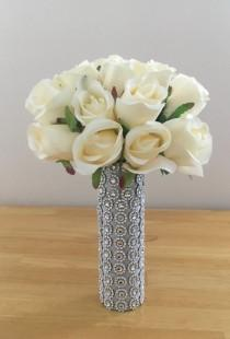 wedding photo - White Ivory Silk Real Touch Roses Wedding Bouquet with Crystal Diamante Brooch Gems - Bridesmaid Bridal Bouquet