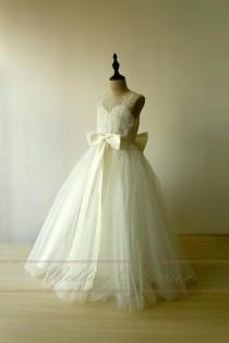 wedding photo - Ivory Lace Flower Girl Dress Floor Length with Blush Sash and Bow