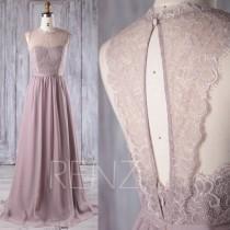 wedding photo - 2017 Rose Gray Chiffon Lace Bridesmaid Dress, Key Hole Back Wedding Dress, A Line Prom Dress, Long Maxi Dress Floor Length (L229)