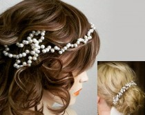wedding photo - 1920s Pearl Bridal Headband, Wedding Pearl Headband, Pearl headband, Pearl Head Chain, Pearl Bun Wrap, Gold Bridal Hair Accessories