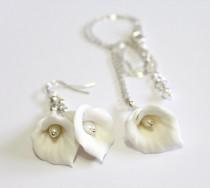 wedding photo - White Calla Lilies Set - Calla Lilies Jewelry Set - Gifts - White Calla Lilies Bridesmaid, Necklace, Bridesmaid Jewelry Set