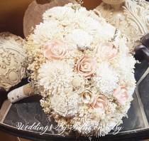 wedding photo - Blush Pink Ivory Sola Bouquet, Blush Wedding, Burlap Lace Wedding, Alternative Bouquet, Rustic Shabby Chic, Bridal Accessories, Sola Flowers